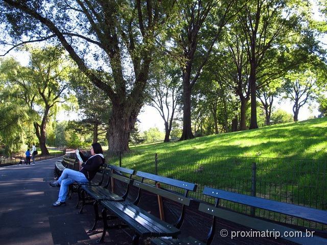 Passeio a pé em Nova York: central park - parada para descansar ...