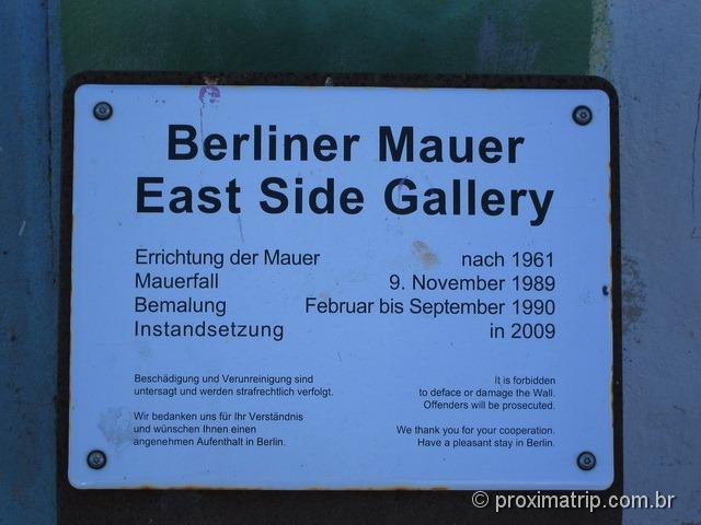 Placa: Berliner Mauer - East side Gallery