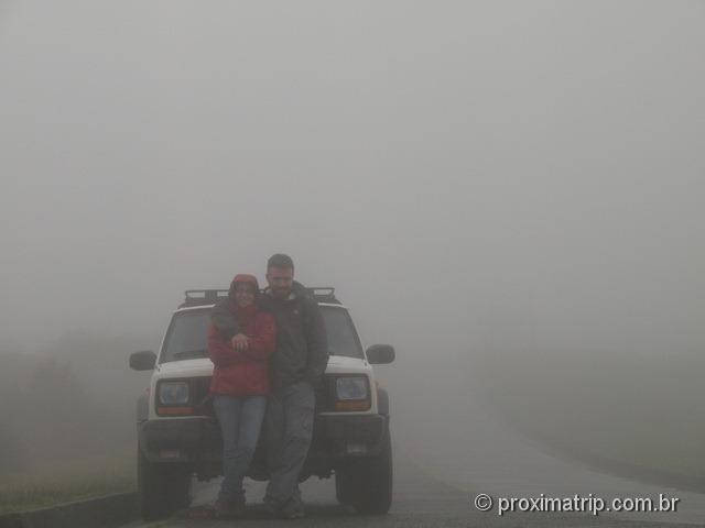 morro da igreja em Urubici totalmente encoberto por neblina