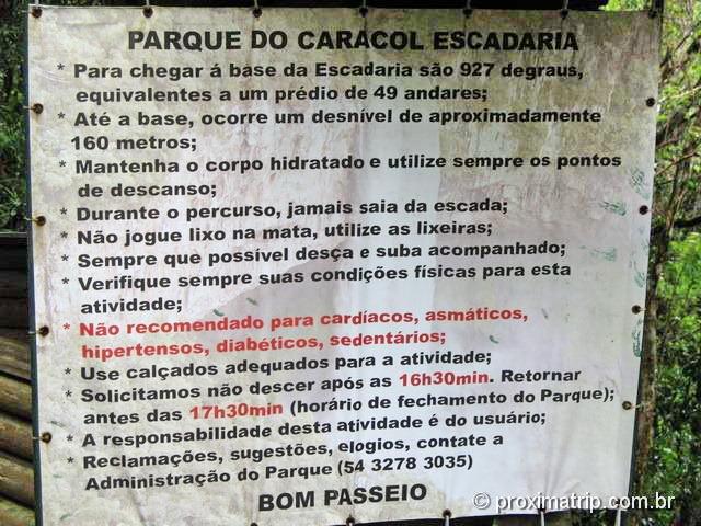 Como visitar o Parque estadual do Caracol - Escadaria da cachoeira