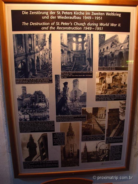 Peterskirche destruída e reconstruída após a segunda guerra mundial - Munique