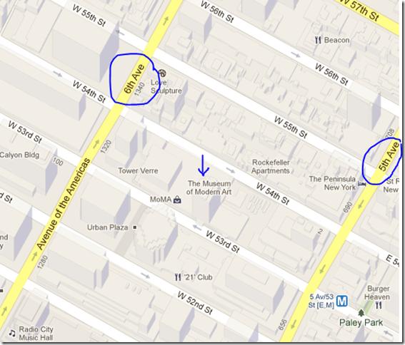 moma - mapa e localização em Nova York