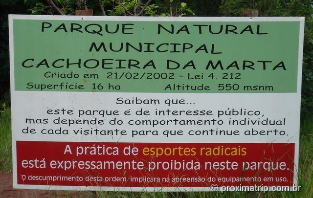 Placa: Parque Natural Municipal Cachoeira da Marta