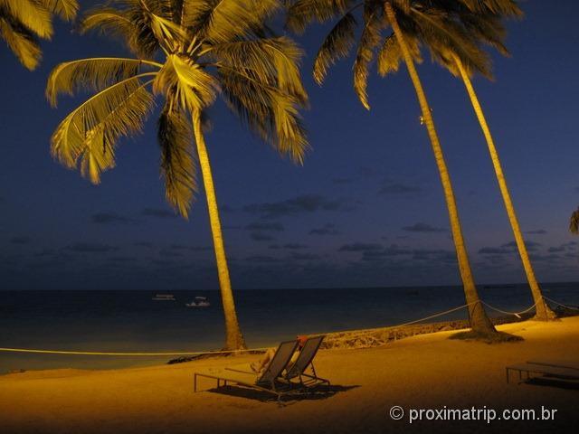 Praia a noite no Grand Oca Maragogi Resort - antigo miramar