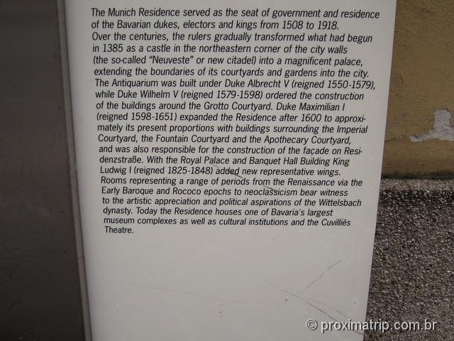 história da residência dos reis da Bavária, em Munique