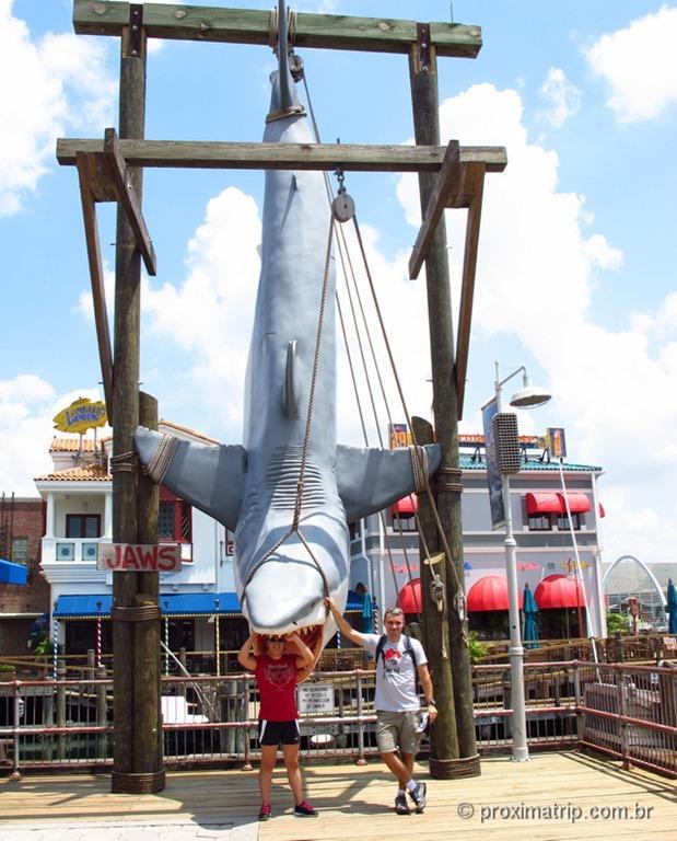 Foto com tubarão - Parque Universal Studios em Orlando