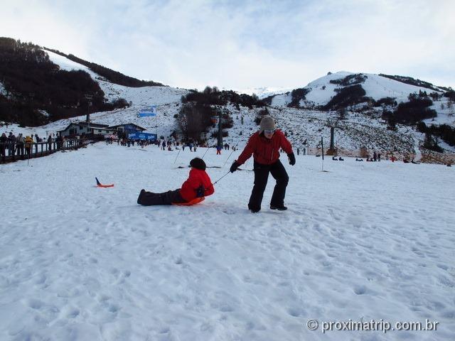 Brincando na neve - tríneos no Cerro Catedral - Bariloche