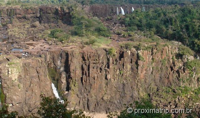 Rochas expostas nas Cataratas do Iguaçu - época de seca em julho