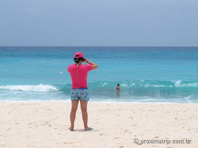 praia do hotel pé na areia Hyatt Regency Cancun - tranquila e sem ondas