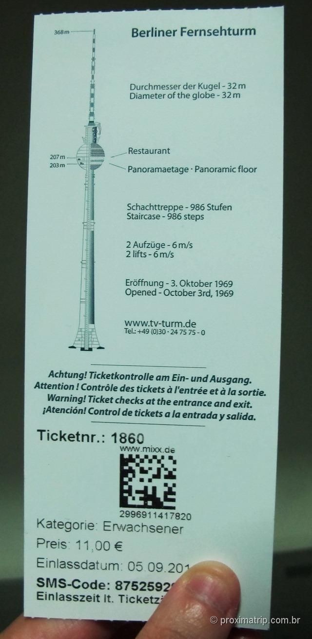 ticket da Torre de Tv Fernsehturm - Alexanderplatz - Berlim