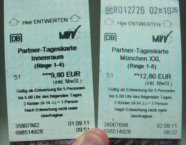 Tageskarten - ticket de metro Munique para grupo