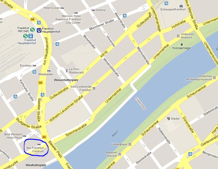ibis frankfurt centrum mapa localização