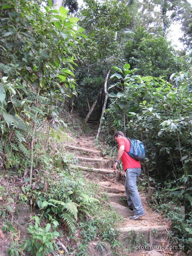 escadas em piso de terra, na trilha Cartão Postal, no Parque Nacional da Serra dos Órgãos