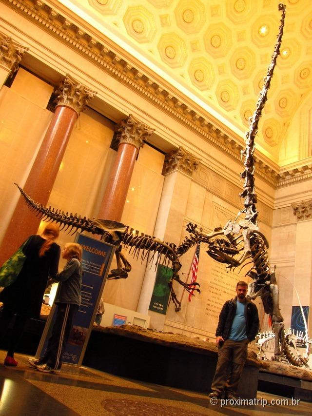 Esqueleto de dinossauro gigante no hall principal do Museu de História Natural de Nova York