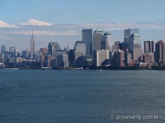 Skyline de Manhattan fotografado do Pedestal da Estátua da Liberdade