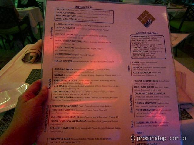 Cardápio do restaurante Nine - Ocean Drive - Miami south Beach
