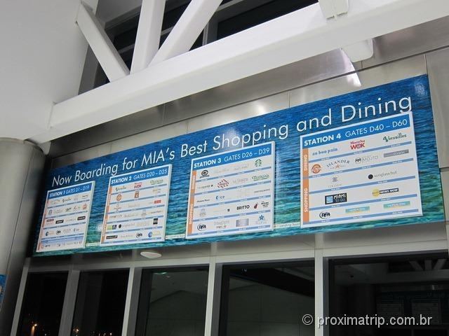 Aeroporto Internacional de Miami - o que tem em cada estação