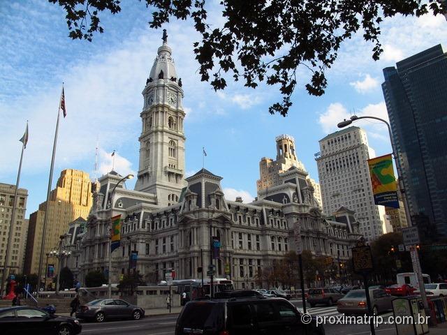 imponente City Hall, no centro da Philadelphia - EUA