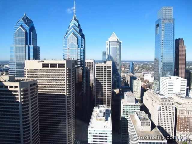 Skyline da Philadelphia - vista sensacional!! (Torre/Mirante do City Hall)