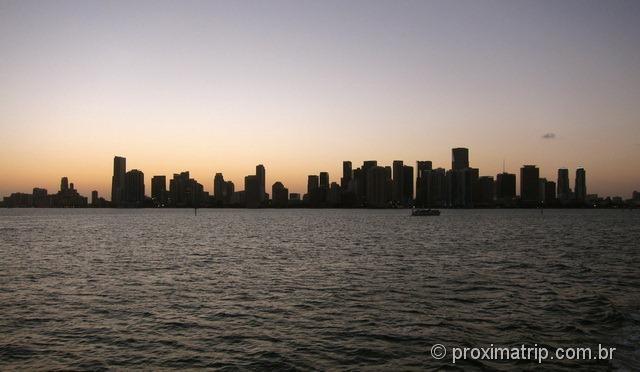 Skyline de Miami ao por do sol