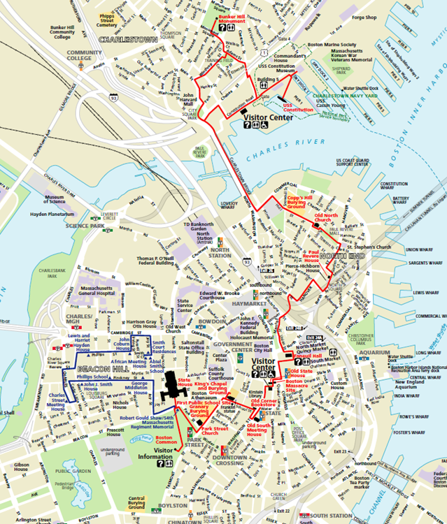 freedom trail em boston mapa
