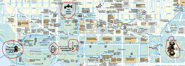 mapa localização de monumentos washington dc EUA