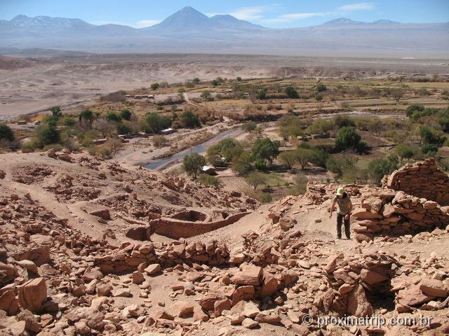 Ruínas Pukara Quitor vista cidade São Pedro Atacama
