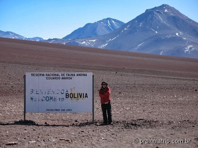 Placa entrada reserva Nacional Eduardo Avaroa fronteira Chile Bolívia deserto Atacama