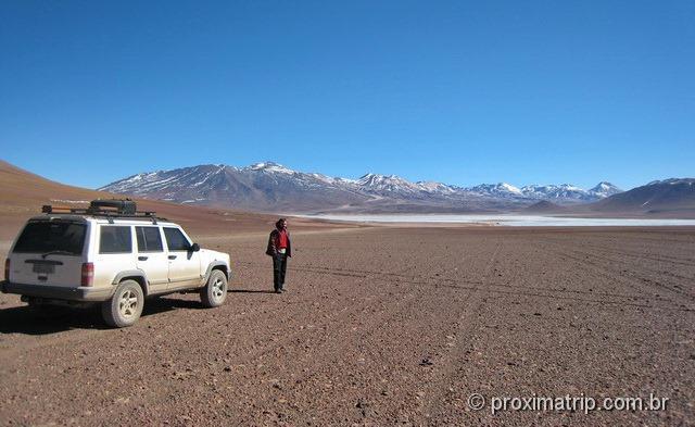 Chegando Lagunas blanca verde Reserva Nacional Eduardo Avaroa Bolívia