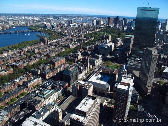 Back bay, Charles River e a John Hancoock Tower vistos do Skaywalk - Prudential Tower