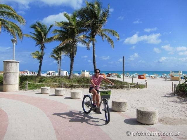 Passeio bike Miami South beach acesso praia