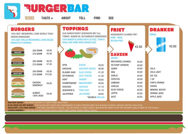 cardápio burger bar amsterdam