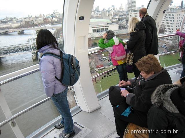 Cabines do London Eye por dentro