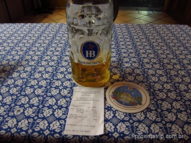 Copo pequeno 1 litro cerveja Hofbräuhaus Munique