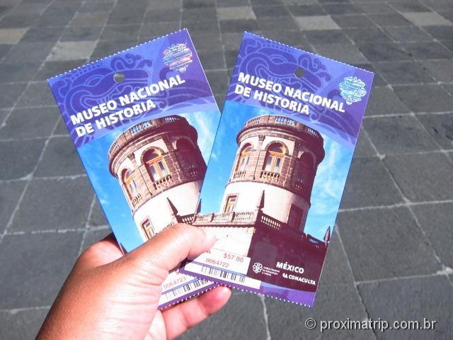 Ingressos para o Museo Nacional de História - Cidade do México