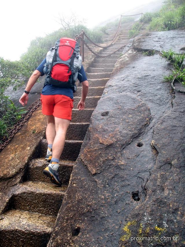 trilha do Pico da Tijuca - trecho final de escadas esculpidas na própria rocha