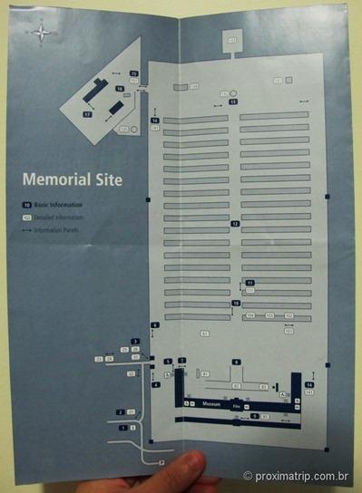 Dachau Memorial site brochure mapa campo concentração Dachau