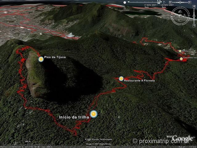 mapa Trilha Pico da Tijuca