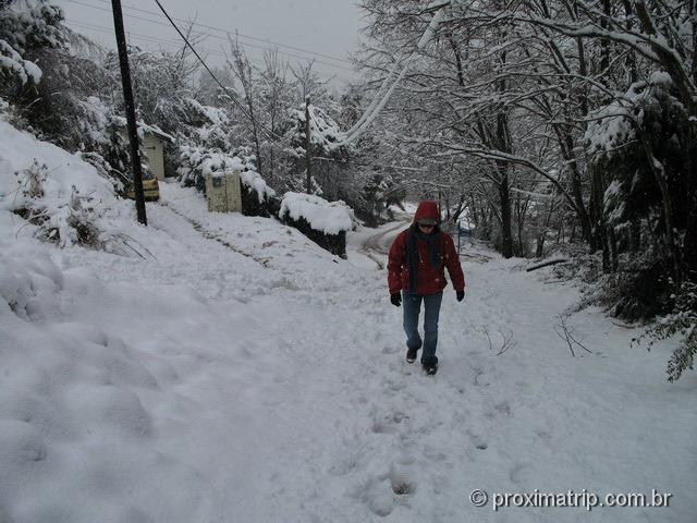 subida a pé Cerro Otto dia muita neve