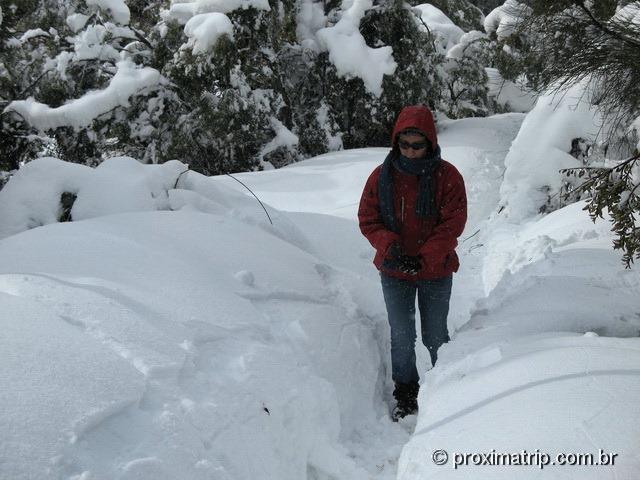 Bariloche subida Cerro Otto a pé muita neve