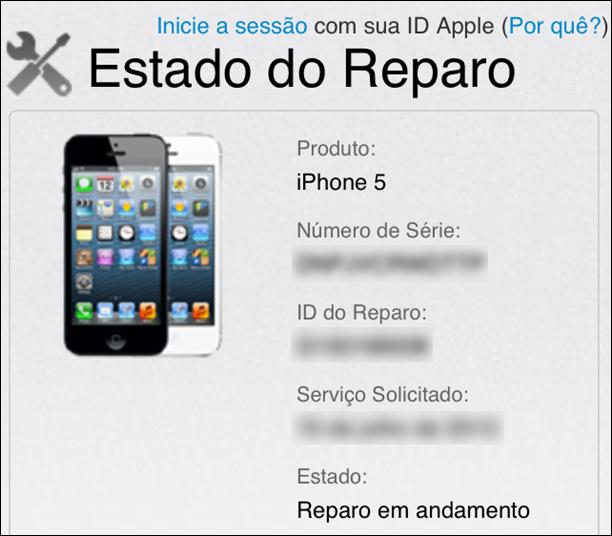 Estado online do reparo - iphone 5 apple