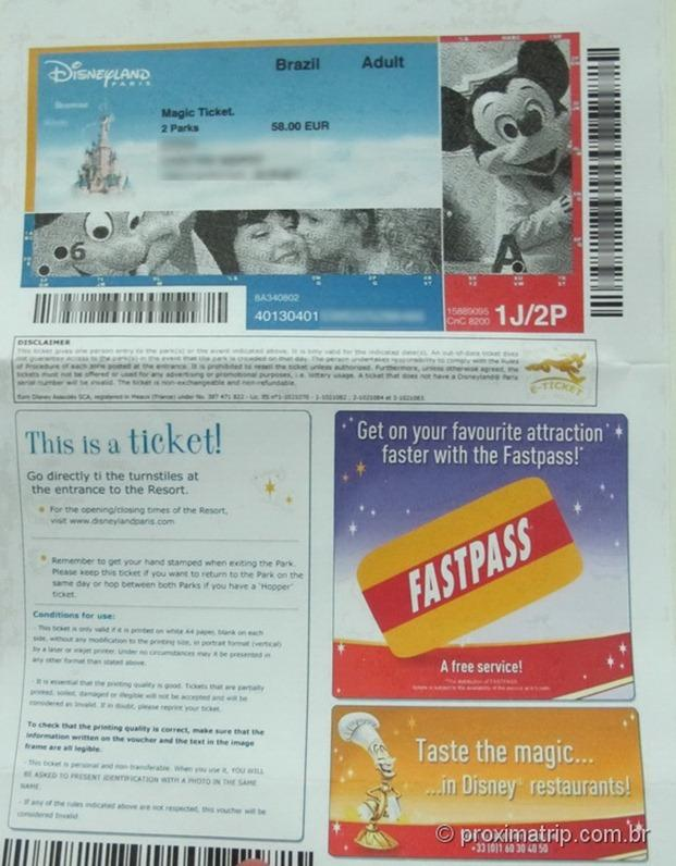 Ticket Disneyland Paris comprado pela internet