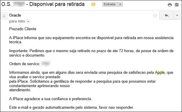 Ordem serviço iphone apple - reparo ok pronto para retirada