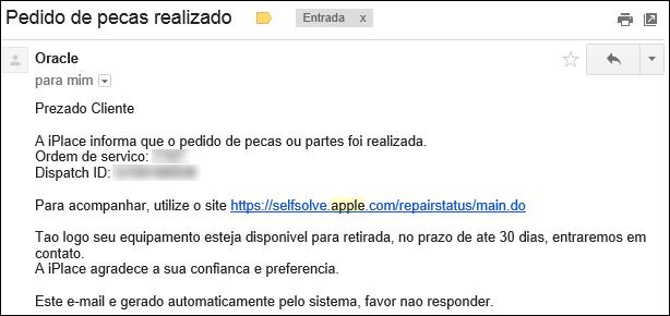 Pedido de Peças realizado - reparo iphone apple