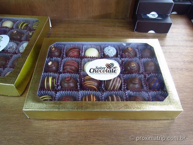 Caixa com chocolates da Sabor Chocolate - Monte Verde