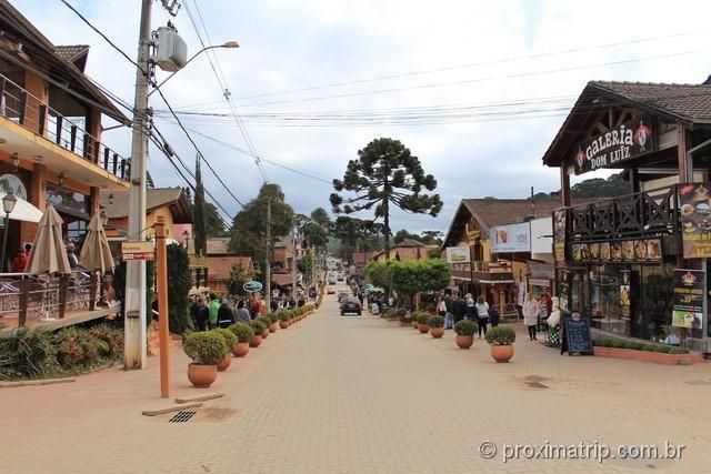 Avenida principal da cidade de Monte Verde