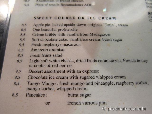 Cardápio sobremesas restaurante Café Le Zimmer - Paris