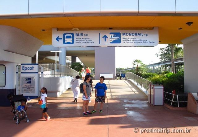 Monotrilho do Epcot para Magic Kingdom via TTC Disney Orlando