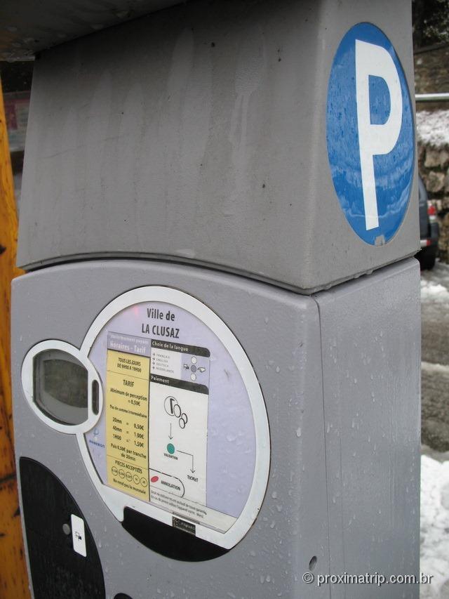 Parquímetro - Pague aqui para estacionar o carro nas ruas de La Clusaz - França