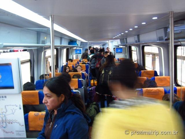Trem do Airport express em Pequim